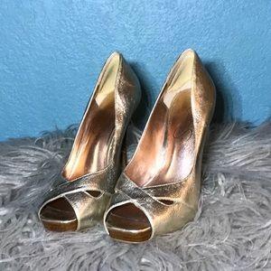 Jessica Simpson Gold Open Toe Heels